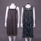 TWO BEADED OR SEQUINED PARTY DRESSES, 1920-1930s