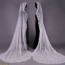 TWO OVAL EMBROIDERED OR TAPE LACE VEILS, 1890-1920