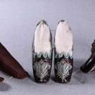 TWO PAIR BOOTS & ONE PAIR EVENING SLIPPERS, PARIS & BOSTON, 1850-1870