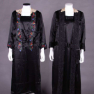 TWO BLACK SILK SATIN DAY DRESSES, EARLY 1920s