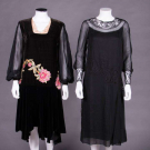 TWO BLACK BISHOP SLEEVED DRESSES, 1920s