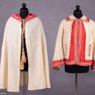 TWO CREAM & RED WOOL OUTER GARMENTS, 1860-1870s