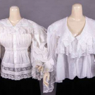FOUR COTTON BODICES W/ LACE TRIMMINGS, 1890-1910
