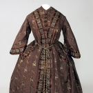 CHOCOLATE BROWN SILK WRAPPER, 1850s